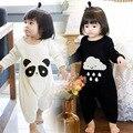 Modelos de explosão vender 100% algodão de manga comprida borboleta Romper do bebê de manga panda bonito do bebê chuva chuva Romper