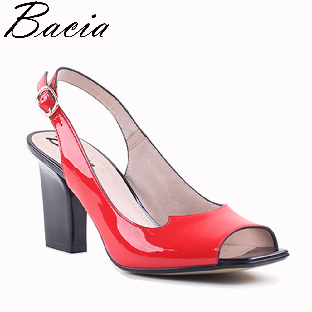 Bacia Fashion Sweet Three Colors Genuine Leather Sandals 7.5cm Heels High quality Genuine Leather Peep Toe Pump Size 35-41MWB013 genuine leather