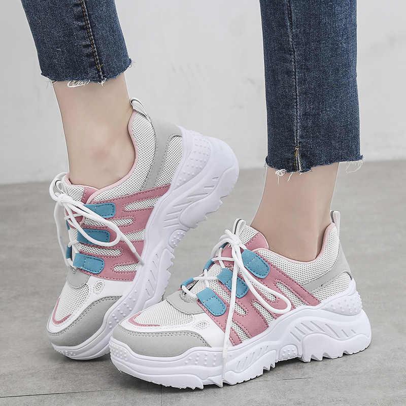 Fujin kadınlar Chaussures tıknaz kadınlar için Sneakers vulkanize ayakkabı rahat moda baba ayakkabı Platform spor ayakkabı sepeti Femme Krasovki
