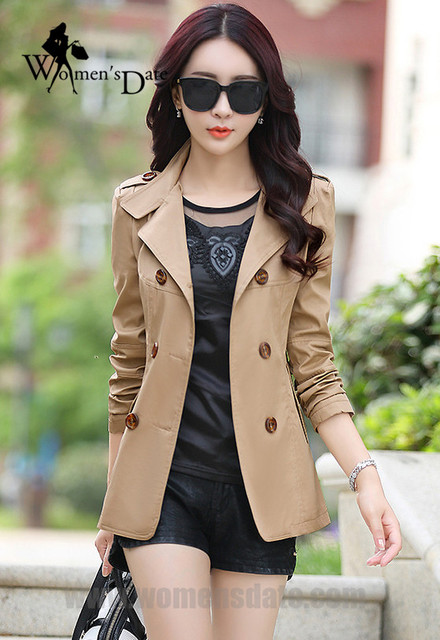 WomensDate 2016 New Fashion Autumn Women Slim Short Paragraph Long-sleeved Double-Breasted Women's Trench Coat 7 Colour
