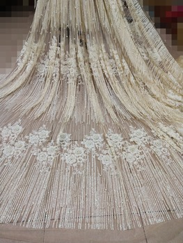 Beautiful shinning glued glitter African French net tulle lace fabric with beaded for party in cream white color
