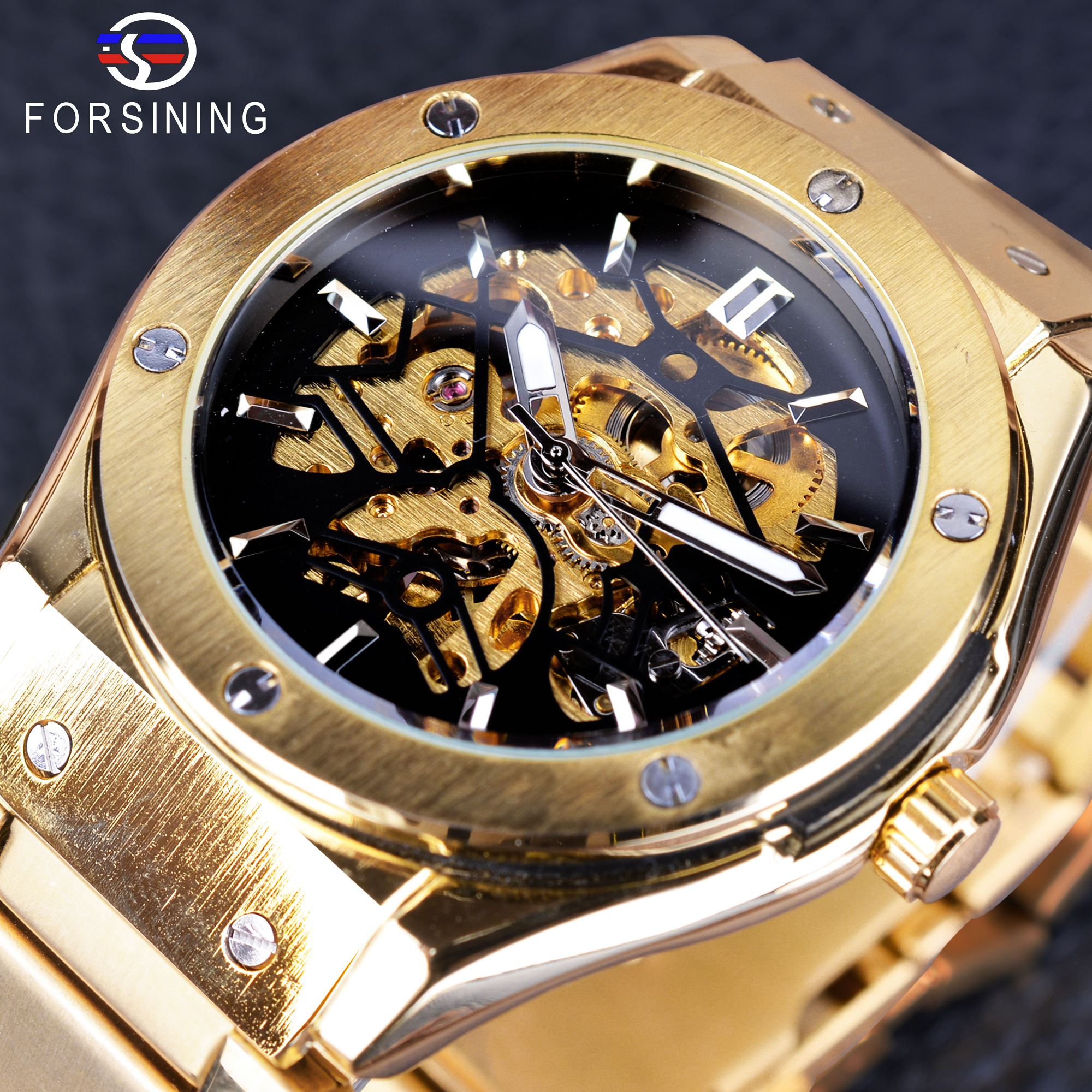 Forsining Steampunk Skeleton Male Clock Golden Stainless Steel Openwork Men Automatic Watch Folding Clasp with Safety Wristwatch forsining golden stainless steel sport watch steampunk men watch luminous openwork mechanical watches folding clasp with safety