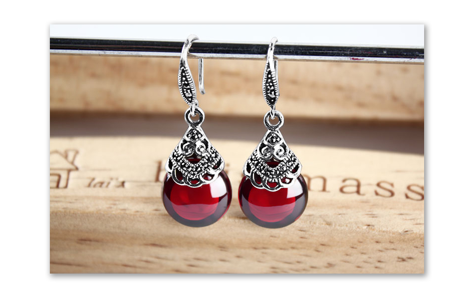 HTB1wwY3oDnI8KJjSszgq6A8ApXaz - JIASHUNTAI Retro 100% 925 Sterling Silver Round Garnet Drop Earrings For Women Natural Red Gemstone Ruby Fine Jewelry Best Gifts
