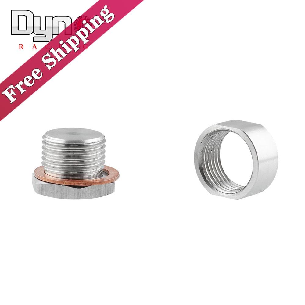 O2 Wideband Oxygen Sensor Stainless Steel Weld On Bung & Plug Wideband Nut & Cap Kit Set