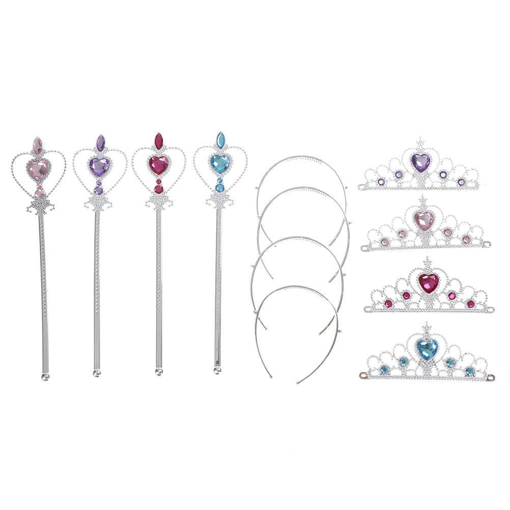 3 adet/takım kız çocuk elmas taçlar Tiaras + sihirli değneklerini çocuklar noel partisi hediye güzel prenses Elsa Cosplay aksesuarları