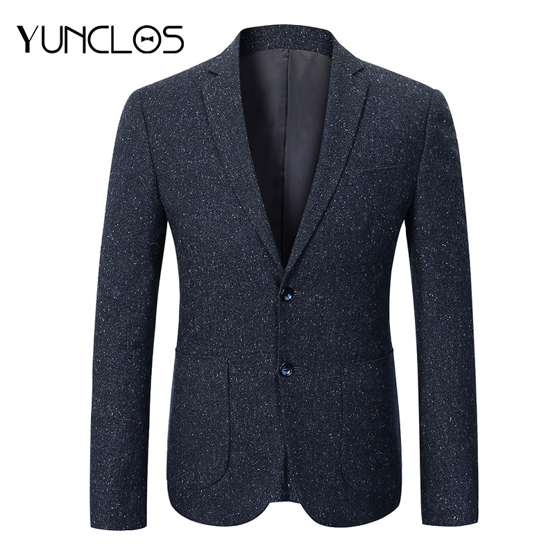 YUNCLOS  Business Men Blazer Navy Blue Suit Jacket Men Casual Slim Fit Male Blazer Prom Blazers Korean Style Clothing Men