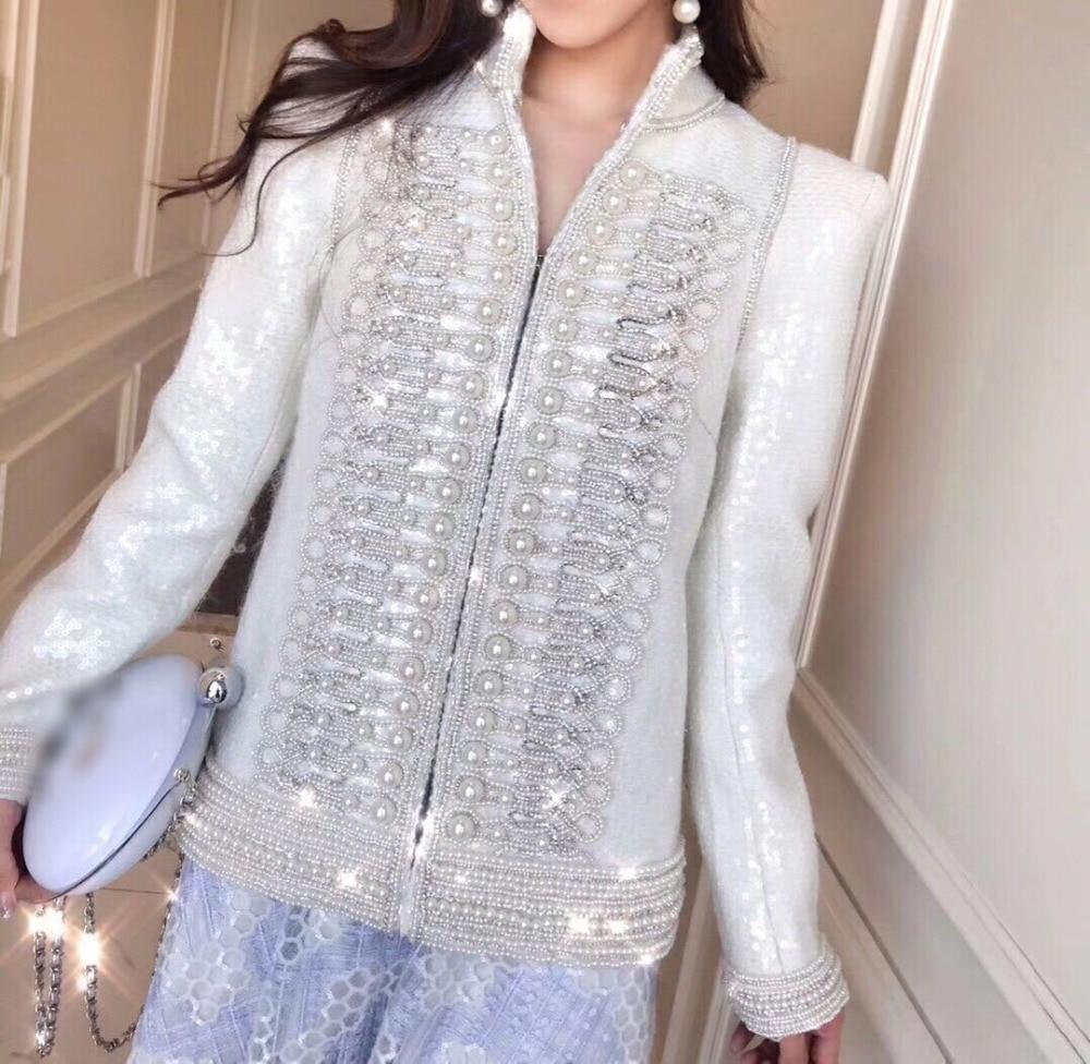 Cakucool Delle Donne Completa Sequins di Lusso Rivestimento di Autunno della Molla Del Partito Elegante Bordatura di Perle Vintage Design Giubbotti Cappotto Femminile
