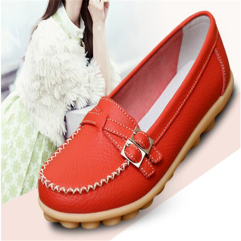 Big size 35-42 2019 autumn women flats shoes women genuine leather flats ladies shoes female slip on ballet flat loafers casual