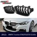 Genuine fibra de carbono série 3 f30 f31 f35 grelha dupla slat gloss/matte black grille para bmw série 3 318i 320i 328i 330i 335i