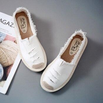 Женская обувь на плоской подошве без шнуровки Повседневная Женская парусиновая обувь Лоферы без застежки дышащие женские эспадрильи 2018 г. ...