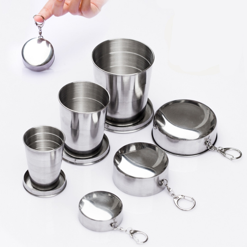 1Pcs Stainless Steel Folding Cup Travel Tool Kit Survival EDC Gear Outdoor Sports Mug Portable for Camping Hiking Climbing