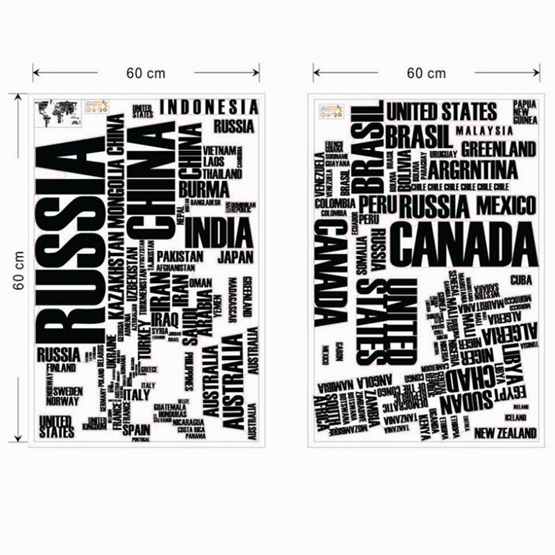 World map wall sticker text kids educational maps country decal world map wall sticker text kids educational maps country decal wallpaper mural words letter 116190cm classroom home decoration in wall stickers from home gumiabroncs Gallery