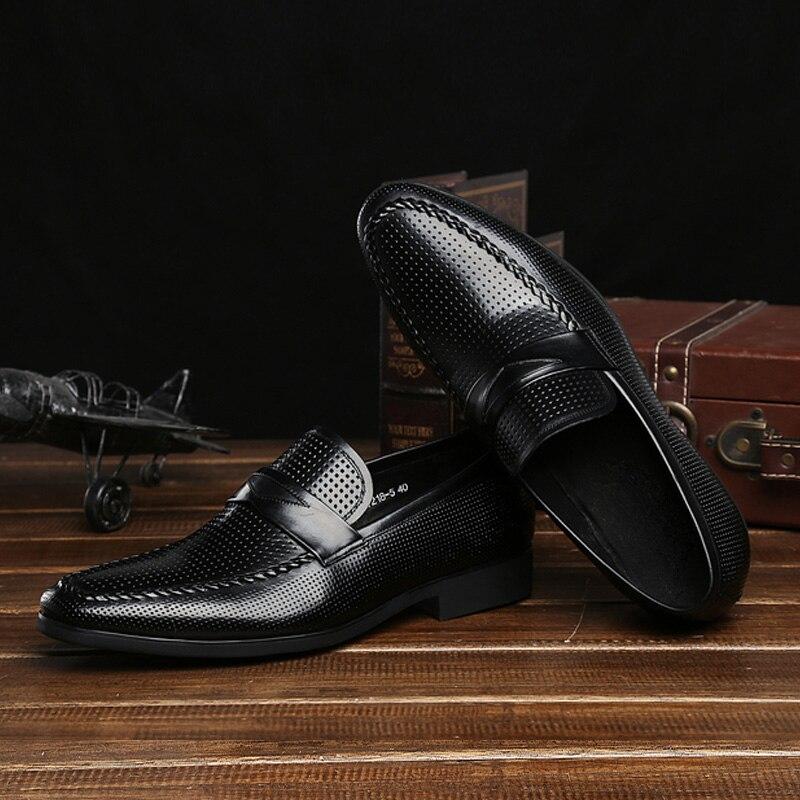 Genuíno Business Mycolen Novo Masculinos Couro Sapatos Britânico laranja Pedal Oco on Casual Preguiçoso Preto De Slip Confortável Respirável Szwx5qwU