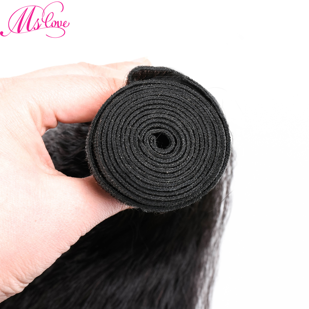 Malaysian Kinky Straight Hair Bundles 4pcs Human Hair Bundles Non Remy Human Hair Extensions Natural Black Mslove Hair