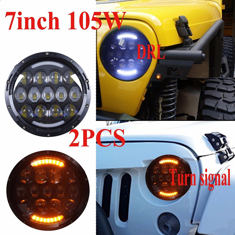 7 Inch Round led headlights High/Low Beam White Yellow angel eyes with DRL for Jeep Wrangler LandRover Hummer Harley 1pair 7inch led headlight high low beam yellow truning signal for jeep wrangler with angel eyes