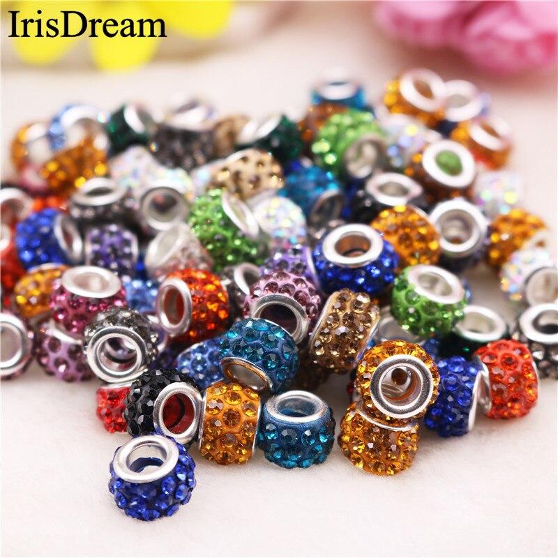 20PCS Big Hole Lot CZ Rhinestone Crystal Bead Murano Glass Beads Charms Fit For Pandora Bracelets For Jewelry Making