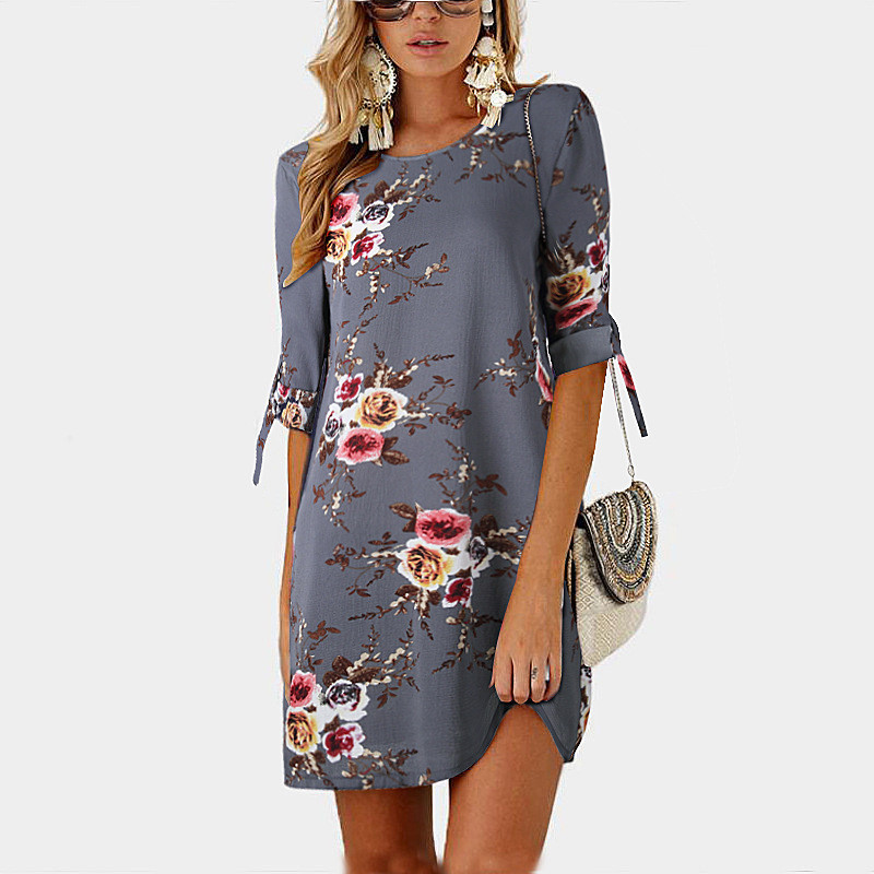 Damen Mode Lose Retro Revers Floral Langarm Boho A-Linie Minikleid Hemdkleid DE