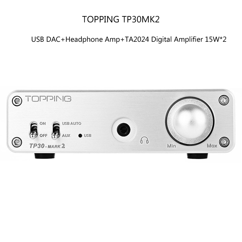 Amplifiers Original TOPPING TP30MK2 Portable 3 in 1 Mini Multi-function HiFi TA2024 Digital AMP 15*2 USB DAC Headphone Amplifier amplifiers original appj pa1501a mini 6ad10 digital audio voccum tube amplifier hifi desktop amp upgrade version of pa0901a 2017