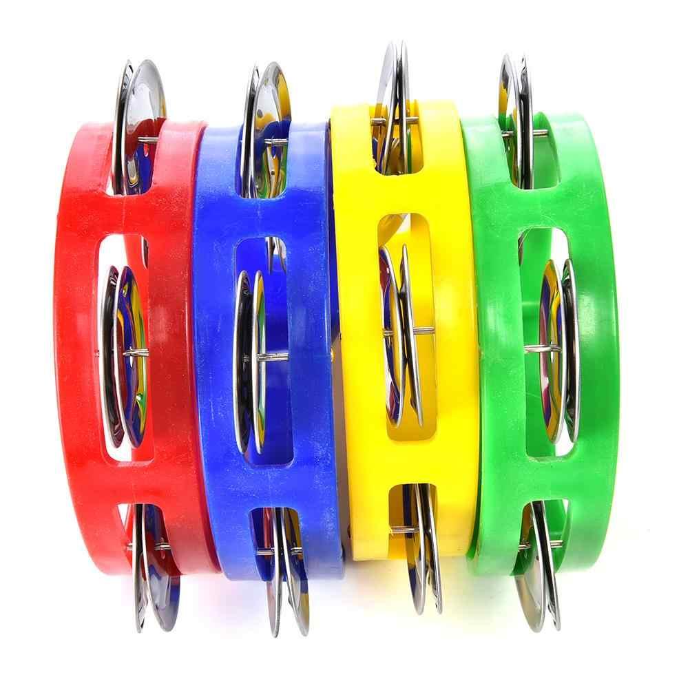 Instrumento musical de mão tamborim metal sino jingles chocalho plástico bola percussão para ktv festa criança jogo brinquedo