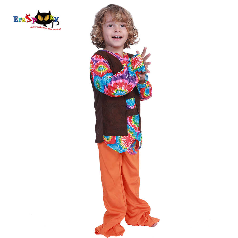 Eraspooky Cute 60s Peace And Love Hippies Costume Baby Boy Halloween Costumes For Kids Floral Carnival Party Fancy Dress Toddler