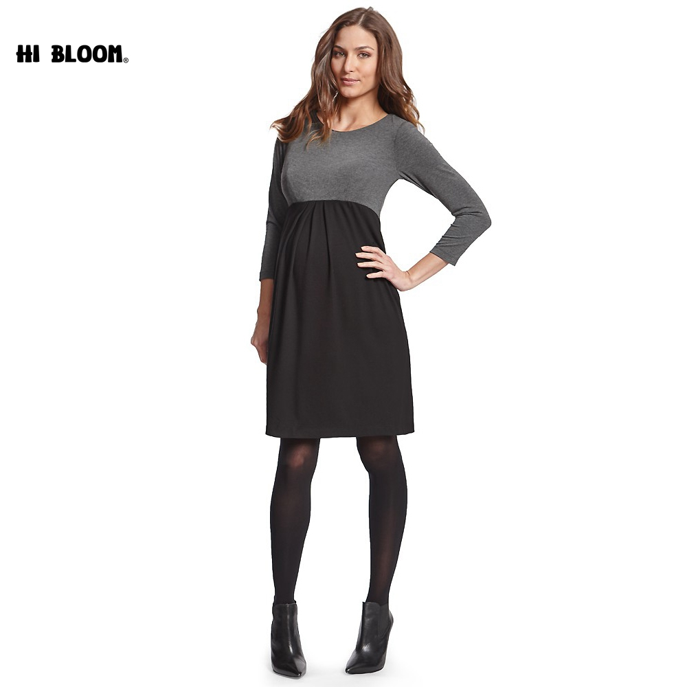 Winter Maternity Dresses Long Sleeve O-Neck Dress for Pregnant Women Elegant Evening Party Pregnancy Dresses Office Lady Vestido women s elegant long sleeve jewel neck splicing dress