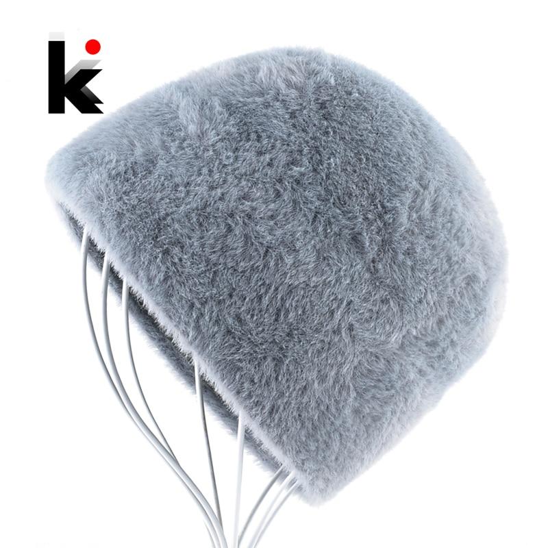 Women's Faux Fur Knitted Hat Winter Warm Fluffy Solid Color Skullis Beanies Ladies Streetwear Knitting Caps Women Bonnet Femme