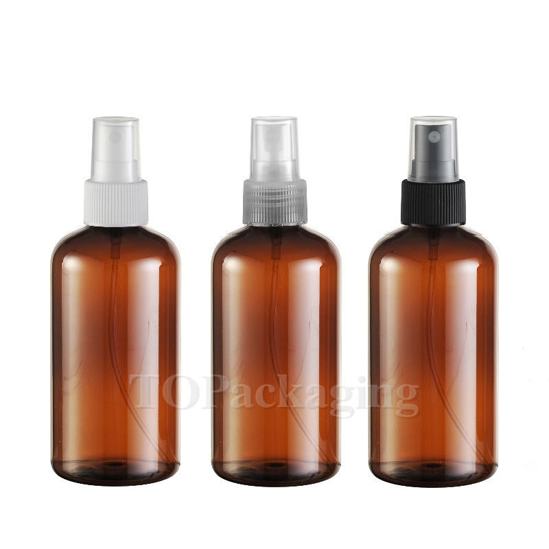 30PCSLOT-220ML Spray Pump Bottle,Amber Plastic Cosmetic Container,Empty Perfume Sub-bottling With Mist Atomizer,Liquid Bottle