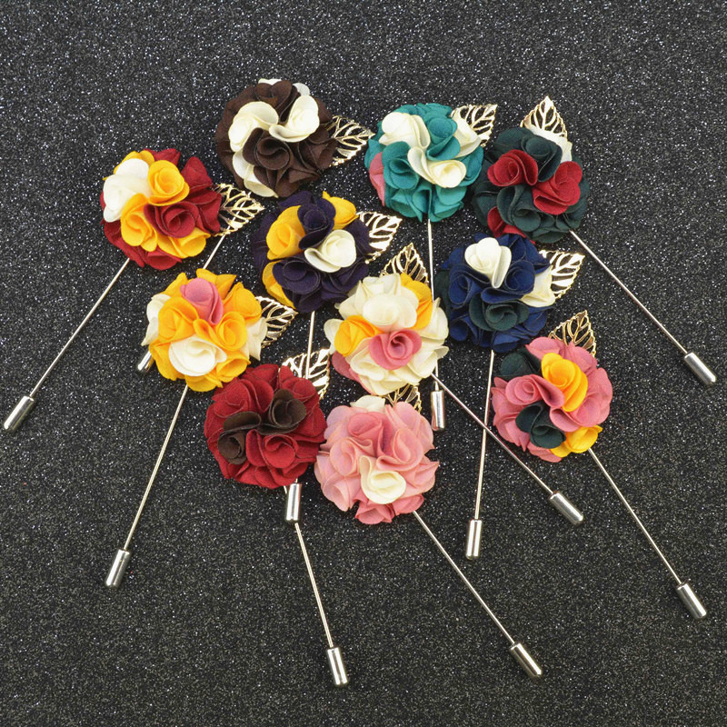 Mdiger Romantic Colorful Handmade Flower Lapel Pin Mens Fashion Brooches For Wedding Safety Pin for Wedding Party 11 PCS/LOT