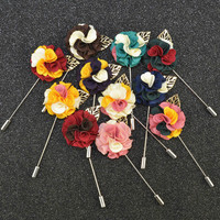 Wholesale Romantic Colorful Handmade Flower Lapel Pin Men S Fashion Brooches For Wedding Safety Pin For