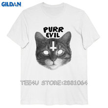 Gildan Tee4U Funny Shirts Cotton O-Neck Short-Sleeve Shirts Satanic Cat Purr Evil For Men