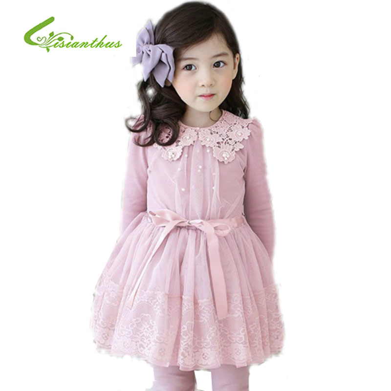 Autumn & Winter Baby Clothes Dress for Girls Sweet Beautiful Elegant Lace Dresses+Cotton Trouser Kids Clothing set 2-7 Years