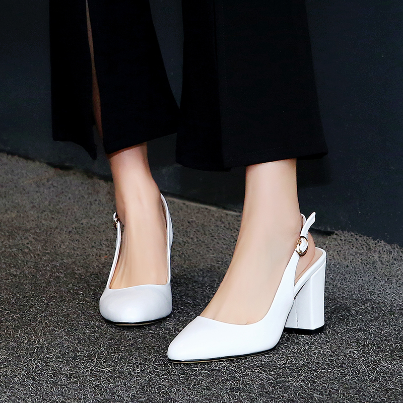 2017 Summer Fashion Sexy Girl Thick Heel Pumps Genuine Leather High Heels Concise Women Sandals Woman Party Wedding Shoes d l020 20w 1620lm 3000k 90 smd 2835 led warm white ceiling panel light white ac 85 265v