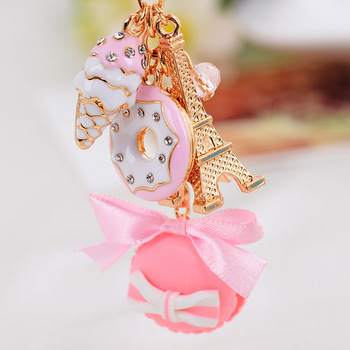 1PC Macaron Cake Dessert Ice Cream Eiffel Tower Bowknot Pendant Keychain Bag Purse Keyring