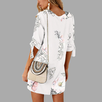 Floral Print Short Casual Dress  1
