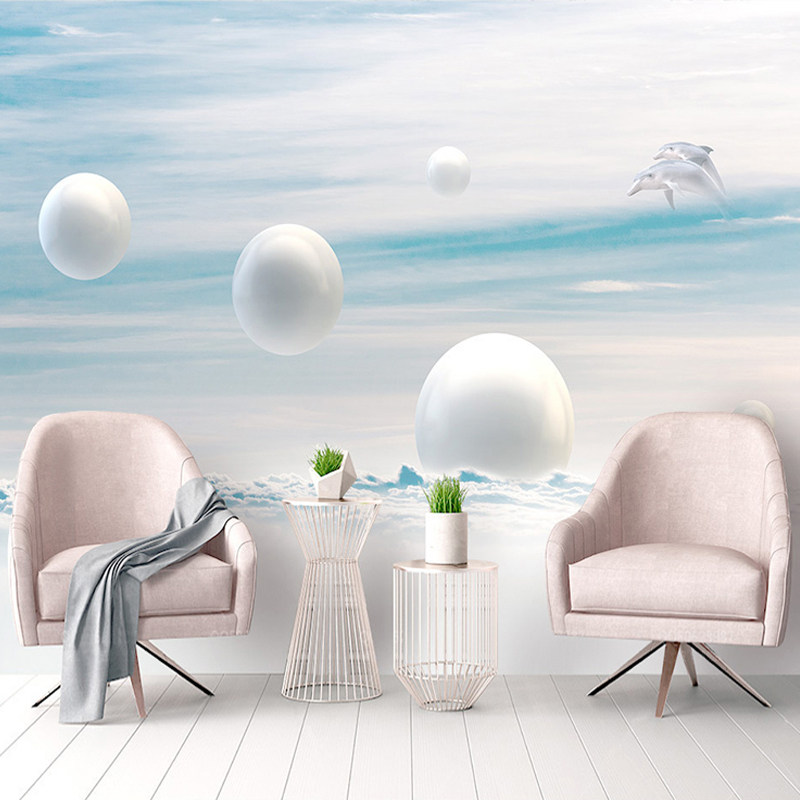 Custom Photo Wall Mural Wallpaper 3D Stereoscopic Circle Ball Blue Sky White Clouds Dolphin Living Room Decor Fresco Wallpaper customize leaves blue sky and white clouds 3d ceiling murals wallpaper living room bedroom
