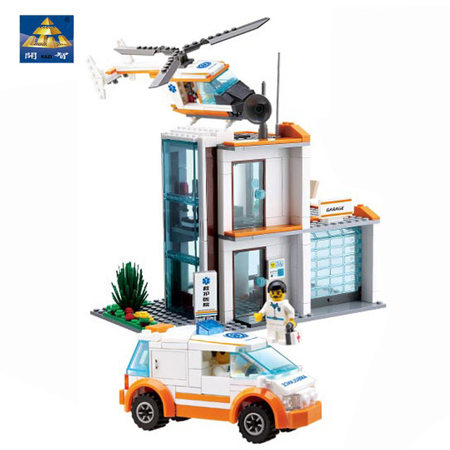 Kazi Bricks Rescue Center Construction Toys Office Building Ambulance Rescue Helicopter Medical Staff Colorful Assorted Toy
