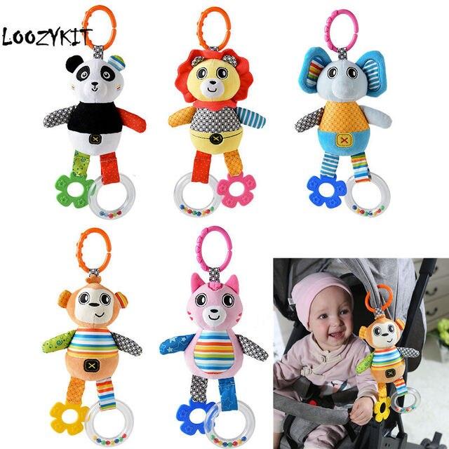 Loozykit Crianças Chocalhos Brinquedos Do Bebê Carrinho De Algodão Acessórios Pendurado Brinquedo De Pelúcia Animais Clipe Cama Berço Do Bebê Pendurado Sinos Brinquedos