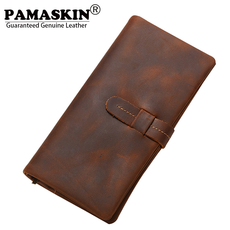 PAMASKIN Long Zipper Wallet Premium Genuine Leather Retro Practical Male Clutch Purses New Multi-Card Bit Card Wallets for Men long wallets for business men luxurious 100% cowhide genuine leather vintage fashion zipper men clutch purses 2017 new arrivals