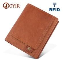 JOYIR New Design Men Wallets 100% Genuine Leather Purse RFID Credit Card Holder Male Wallet Zipper Coin Pocket Photo