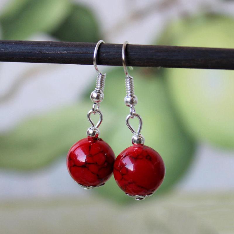 Популярные красивые женские серьги тибетского серебристого цвета, модные простые серьги подвески в форме шара, современные ювелирные украшения|dangle earrings|fashion dangle earringssliver earrings | АлиЭкспресс