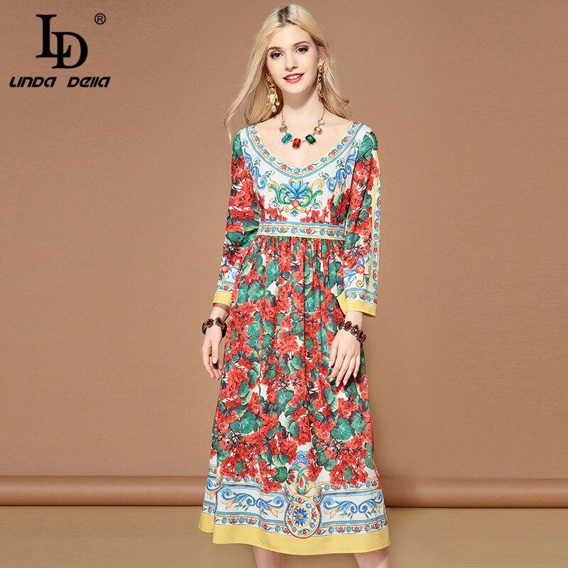 LD LINDA DELLA Floral Print Casual Midi Dress 2019131106