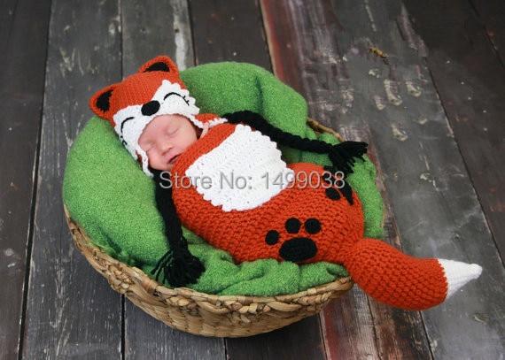 crochet  Baby Red Fox Hat & Sleeping Bag Set  photography prop