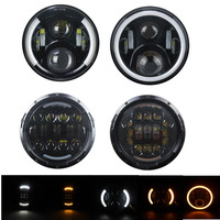 40W 50W 7 inch Round LED Headlight Hi Low Beam Light Halo Angle Eyes DRL Signal Light Headlamp For Jeep Wrangler Off Road Suzuki