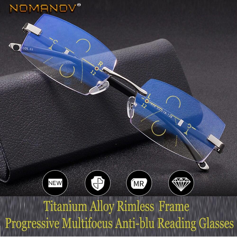 Leesbril Nomanov = lunettes de lecture multifocales progressives sans monture Tr90 coupe pour bords voir proche et lointain Top 0 ajouter + 0.75 à + 3