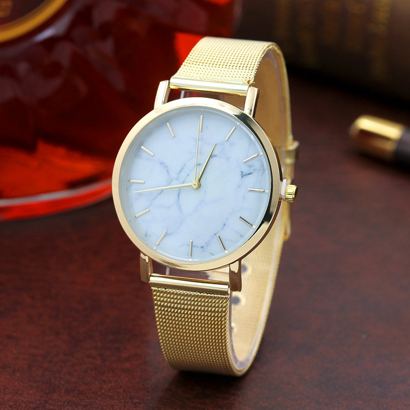 2018 New Women Watches Ladies Simple Marble Colour Dial Gold Metal Mesh Band Quartz Watch Unisex Casual Wristwatches Relogio
