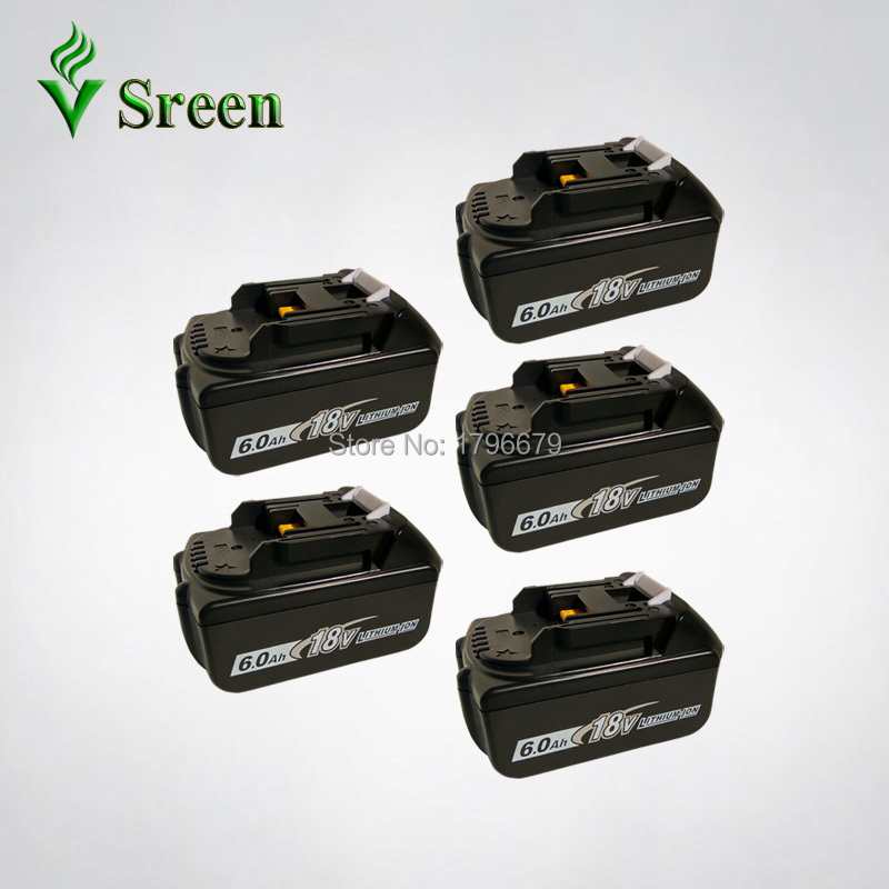 5PCS 6000mAh 18V BL1860 Lithium Ion Replacement for Makita BL1840 LXT400 BL1850 BL1830 Power Tool Rechargeable Battery 194205-3 spare 2600mah 36v lithium ion rechargeable power tool battery replacement for bosch d 70771 bat810 2 607 336 107 bat836 bat840