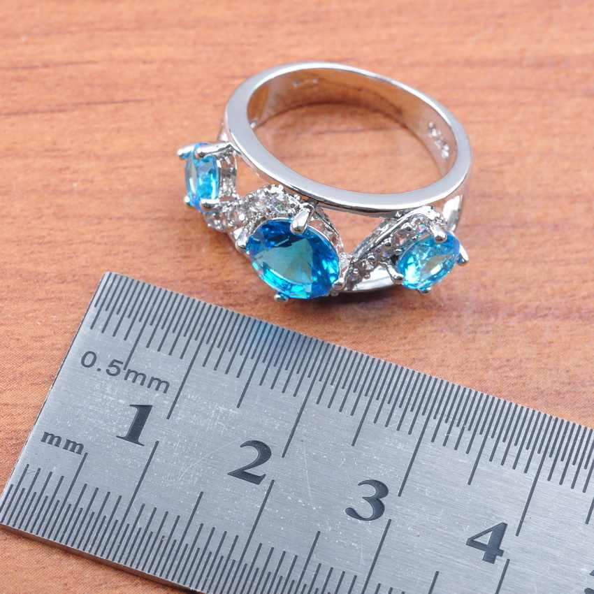 2019 ใหม่ Shining Sky Blue หิน Cubic Zircon สำหรับผู้หญิงเงิน 925 เครื่องประดับชุดต่างหู/จี้/สร้อยคอ /ชุดแหวน JS0137