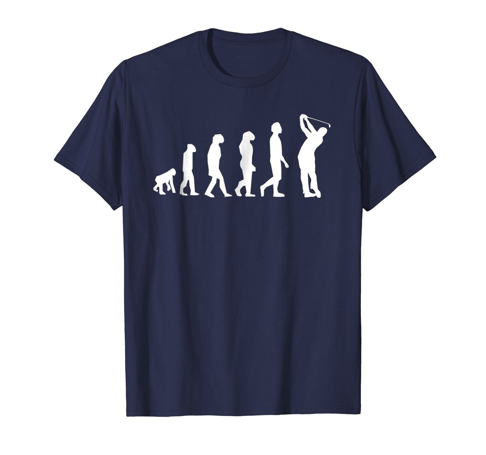 Mens Evolution Golfer Funny Golf Golfing Fathers Day T Shirt 2XL Navy Fresh Design Summer Good Quality shirts