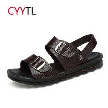CYYTL Summer Men Sandals 2019 Fashion Slippers Leather Soft Flip Flops Roman Outdoor Beach Sneakers Male Shoes Sandalias Hombre