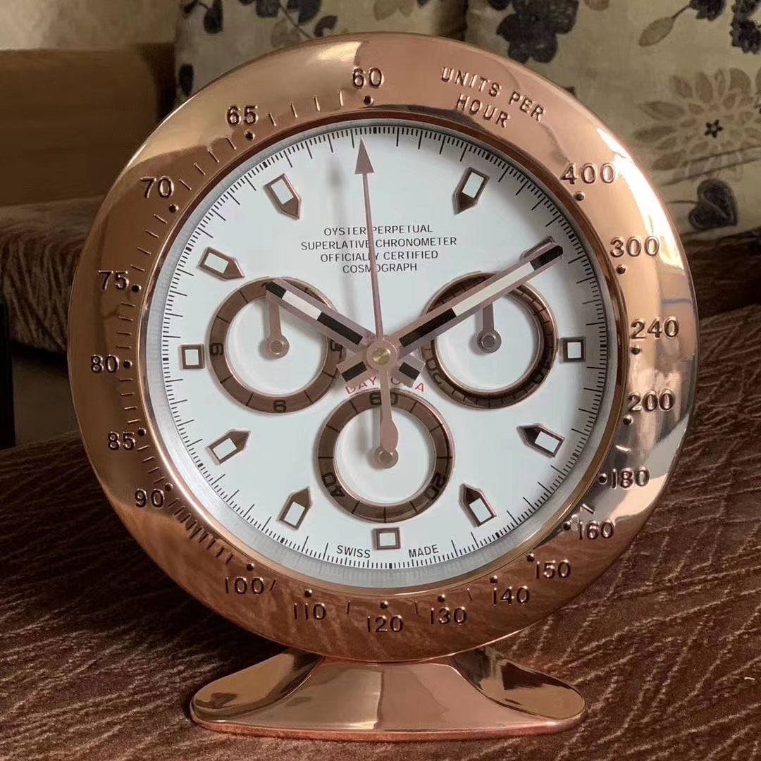 Gold Color Metal Watch Shape Table Wall Clock with Glowing Features with Silent Mechanism Art Watch Clocks on The Wall with Logo